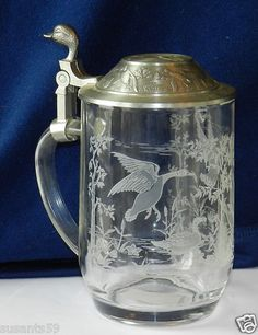 German Lidded Beer Stein. Etched! French Glass Blank! $16.00