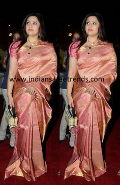 Latest Traditional and Designer Sarees: Meena in shaded pink pattu saree