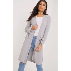 Aba Grey Sleeve Tie Detail Duster Coat ❤ liked on Polyvore featuring outerwear, coats, gray coats, grey coat, grey duster coat, duster coat and leather-sleeve coats