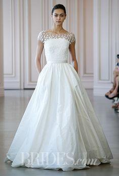 A sophisticated, A-line @oscarprgirl wedding dress | Brides.com
