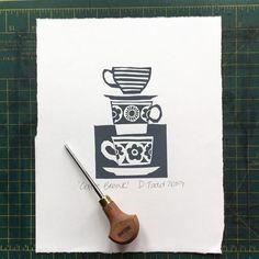A retro feel to this coffee time print. Printed by hand using water-based inks onto acid-free paper. Lino Print Artists, Lino Art, Linoleum Block Printing, Linoprint, Chalk Pastels, Tampons, Linocut Prints, Art Plastique, Woodblock Print