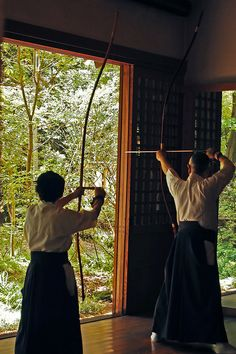 Japanese archery, Kyudo 弓道 - where men wear hakama pants over their white kimono.  We offer more traditional, semi-formal hakama for $60 at www.kyotokimono.com