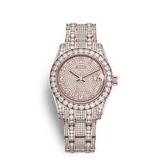 Rolex Pearlmaster 34 Watch: 18 ct Everose gold with lugs set with diamonds - 81405RBR