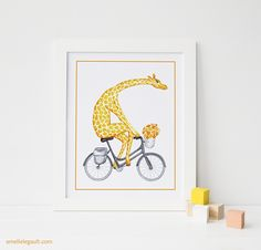 Cute giraffe on bicycle print by Amelie Legault. Available on #Etsy:  https://www.etsy.com/ca/listing/195684446/giraffe-on-bicycle-with-flower-print?ref=shop_home_listings  #girafe #giraffe #bicycle #velo #bicyclette #print #affiche #drawing #amelielegault