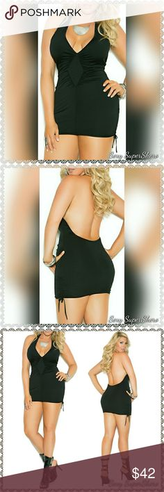 🆕PLUS Deep V Halter Neck Little Black Mini Dress This is the hottest in LBDs! A deep-V halter neck mini dress with adjustable scrunch sides. Your next Go-to for Date night or GNO! 🎉🎊🎇  Size(s): 1X,2X,3X (see size chart pic above) Also available in S,M,L, see other listing  Color(s): Black  Material(s): 95% Polyester, 5% Elasthan  💰 Bundle & Save 💨📦 Ships in 1-2 Business Days Sexy SuperShero Dresses Mini