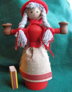 Vintage Wood Christmas Doll Elf Gnome Santa Tomte Sweden Figure Candle holder #2