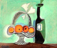 Pablo Picasso - Nature morte. Corbeille de fruits et bouteille. Painted in Paris, 29 December 1937.