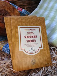 The original sourdough starter in its sustainable packaging designed by Paola at Designers on the Run (who also took this image).