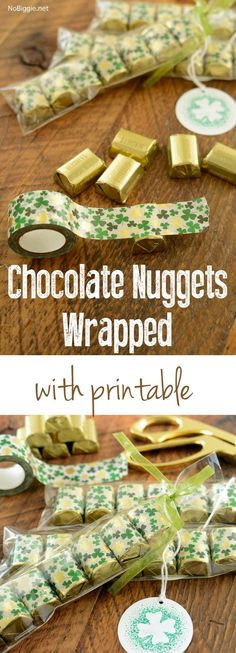 Chocolate Nuggets wrapped in washi tape with printable gift tag   Download on NoBiggie.net