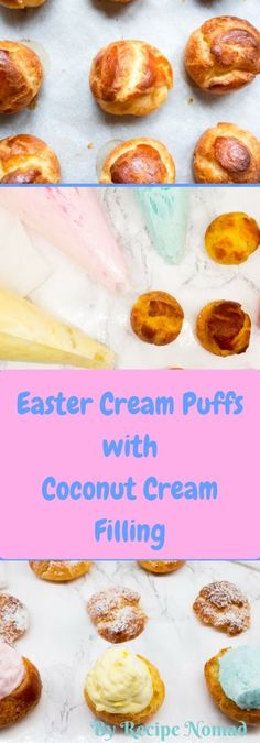Easter Cream Puffs with Coconut Cream Filling are a gorgeous Easter treat! Filled with coconut cream filling and dusted with powdered sugar, they're just the right size for classroom parties, potlucks or just to share with family and friends!  http://www.recipenomad.com/easter-cream-puffs-coconut-cream-filling/  Easter Cream Puffs with Coconut Cream Filling | Recipe Nomad