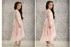 www.frostedproductions.com | #utah #photographer #studio #photography #kids #fashion #girls #clothes #long #lace #dress #pink