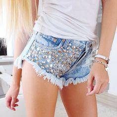 Frayed Embellished Denim Shorts.