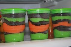 made these for Halloween-time: just mix up instant vanilla pudding, divinde in 1/2 and add a drop of orange food coloring to one and green food coloring to the other... blitzup some chocolate cookies in the food processor and make the layers - I LOVE these containers made by BALL (yes the canning jar people) they are made for jams and jellies, and are plastic with a great sealing screw-on lid... I use these all the time in my son's school lunches for everything from milk for cereal on his breakfast-for-lunch days to grapes and assorted snack items. ;)
