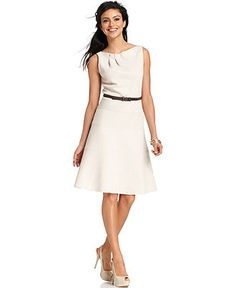 Anne Klein Dress, Sleeveless Belted Folded Neckline A-Line - Dresses - Women - Macy's