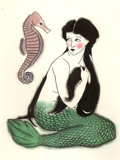 sam battersby matou en peluche mermaids print from her original charcoal drawing