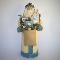 Folk Art Santa Claus Figurine Paper Mache Mixed Media Sculpture Ocean City, NJ Cream Collectable Beach Personalized Handmade figurine 201629 by SantasfrommyHeart on Etsy
