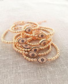 Indian Gold Jewelry Near Me Rose Gold Jewelry, Beaded Jewelry, Beaded Bracelets, Gold Jewellery, Jewelery, Evil Eye Jewelry, Evil Eye Bracelet, Plastic Jewelry, Sea Glass Jewelry