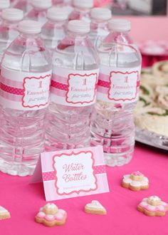 """""""Pretty in Pink"""" water labels"""