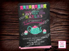 TEA PARTY INVITATION Tea Party Birthday by BlissfulBethDesigns