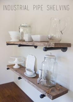Can't decide if you prefer an industrial or rustic look? Thanks to these pipe shelves you no longer have to choose. Put old pieces of pipe to work as the brackets for rustic-looking shelving—and couldn't be happier with the results. Get caps for the pipes to finish them off, and spray-paint them to complement your decor.