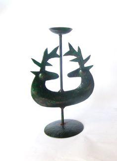 Vintage green deer candle holder. Rustic by Underlyingsimplicity