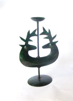 Vintage green deer candle holder. Rustic by Underlyingsimplicity
