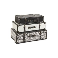 IMAX Home 47560-3 Aberdeen Storage Trunks - Set Of 3 Home Decor (310 CAD) ❤ liked on Polyvore featuring home, home decor, small item storage, fillers, furniture, decor, accents, boxes and baskets and vintage style home decor