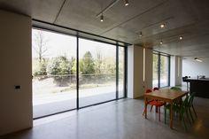 minimal windows sliding into pockets on residential project, Surrey    www.iqglassuk.com