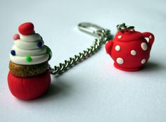Polymer Clay Teapot and Cupcake Keychain/Keyring, Cupcake Keychain, Teapot Keychain, Clay Keychain, Polymer Clay Red Keychain