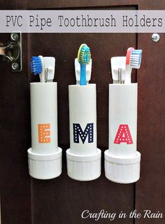 PVC Pipe Toothbrush Holders: 10 Home Organization Ideas For A Clutter Free Life Bathroom Organisation, Organization Hacks, Bathroom Ideas, Electric Toothbrush Holder, Toothbrush Holders, Pipe Diy Projects, Simple Projects, Hair Tool Organizer, Pinterest Projects