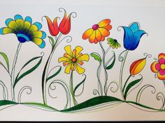 Doodling JXS Source by angelikastricker Doodle Drawings, Easy Drawings, Doodle Art, Fabric Painting, Painting & Drawing, Watercolor Flowers, Watercolor Paintings, Flower Doodles, Painted Rocks