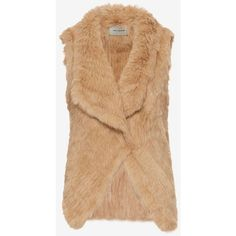 Yves Salomon Knitted Rabbit Fur Vest: Camel ($398) ❤ liked on Polyvore featuring outerwear, vests, asymmetrical vest, draped vest, vest waistcoat, rabbit fur vest and yves salomon