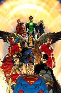 Superman and Justice League by Michael Turner Red Arrow, Green Lantern, Black Canary, Red Tornado, Hawkgril, Flash, Vixen, Black Lightning, Wonder Woman, Superman, Batman