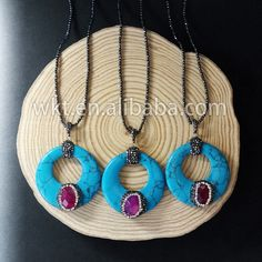 WT-NV060 Gorgeous natural round blue turquoise stone wtih tiny raw tiny agate chram necklace ,fashion rhinestone paved turquoise necklace by WKTjewelry on Etsy