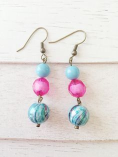 Beaded earrings from my Etsy shop https://www.etsy.com/listing/242919658/pink-and-turquoise-earrings