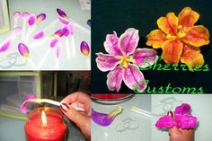 Flores feitas de colheres de plástico... lembra as Orquídeas #Passo a passo: https://www.facebook.com/ChiquinhaArtesanato