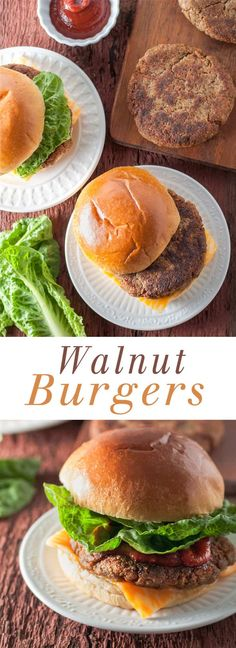 Walnut Burgers - These veggie burgers are juicy, meat-free, and bean-free! #veggieburger #vegetarian #mushrooms #walnuts #hamburger #memorialday #summer #bbq #barbecue #nobeans