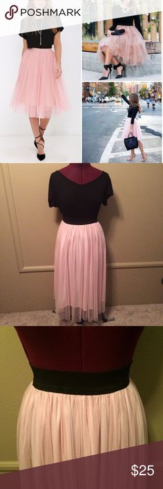 Get The Look-Pink Tule Skirt Get the look that everyone is obsessing over! This pink tule skirt is in excellent condition! Dress it up or dress it down! Black elastic waist, fully lined. Color is closer to what is depicted in the 2nd picture. I'm 5'3 and this skirt comes just above my ankles. MAKE ME AN OFFER! Skirts