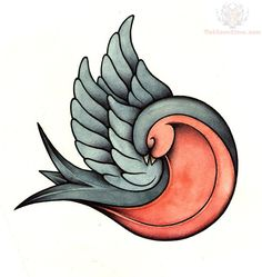 Grey and Red Ink Swallow Tattoo Design