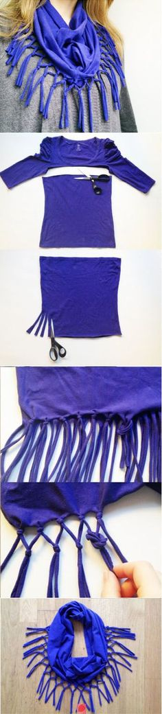 Make a scarf from a recycled tee shirt.
