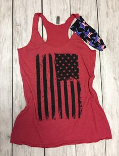 American Flag Tank Top and Headband. MERICA Tank Top. Fourth of July. America. Summer Tank. Red White Brew. Patriotic. 4th of July. USA. 1776. American Girl. American Woman.#headband #fitnessheadband #workout #exercise #patriotic #patriot #patrioticaf #america #usa #merica #flag #republican #democrat #workitwear #freedom