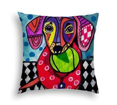 Dachshund Lovers Art Pillow - Doxie Weiner Dog Gift -  Modern Abstract Art by Heather Galler- 5 Sizes to Choose From by HeatherGallerArt on Etsy https://www.etsy.com/listing/490396466/dachshund-lovers-art-pillow-doxie-weiner