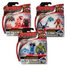 """Assemble the Avengers with Avengers: Age of Ultron Figure 2-Pack 2.5""""! You can now battle Ultron's evil forces alongside the mighty Thor, Hulk, and Iron Man or assemble the terrifying Sub-Ultron Drone with this figurine 2-pack."""