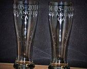 13 Etched Pilsner Beer Glasses, Personalized Pilsner Glasses, 2 engraved Pilsner Glasses, His and Hers Gift, Wedding Favor for Dads, 16oz