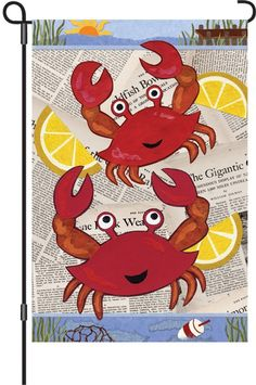 Tell the world - who's crabby? You're crabby. Crab feast garden flag. #CrabFlag