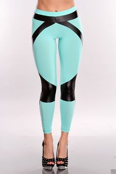 Tired of wearing those same old boring tights?  Well it is time to spice it up a little bit.  Add some pizazz to your outfit with These legging! They are adorable and they will catch attention where ever you go. It features faux leather trim, banded elastic waistline, two toned, and they are a stretchy comfortable fit.