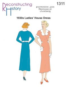 - House Dress Sewing Pattern by Reconstructing History Vintage Dress Patterns, Vintage Gowns, Dress Sewing Patterns, 1930s Fashion, Vintage Fashion, Retro Fashion, Pajama Pattern, Gown Pattern, House Dress