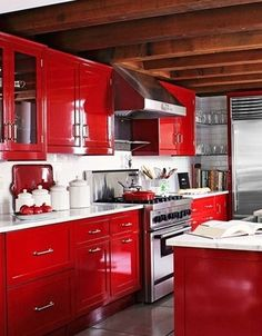 Luxury Red and White Kitchen Cabinets