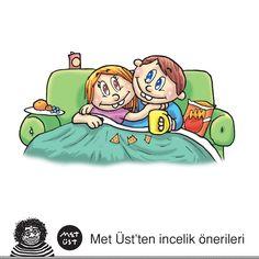 Kendinize bir incelik yapın ve bütün haftasonunu sevgilinizle birlikte bir kanepede miskinlik yaparak geçirin. #metinüstündağ #karikatür #aşk #şubat #sevgi