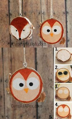 30 Wood Slice DIY Ideas Fallow instructions from image and make this type of decoration for your house. Use wood slices and paint on them whatever you want. The post 30 Wood Slice DIY Ideas appeared first on Wood Ideas. Painted Wood Crafts, Wooden Crafts, Wooden Diy, Hand Painted, Driftwood Crafts, Wood Craft Supplies, Wreath Supplies, Christmas Wood, Christmas Crafts